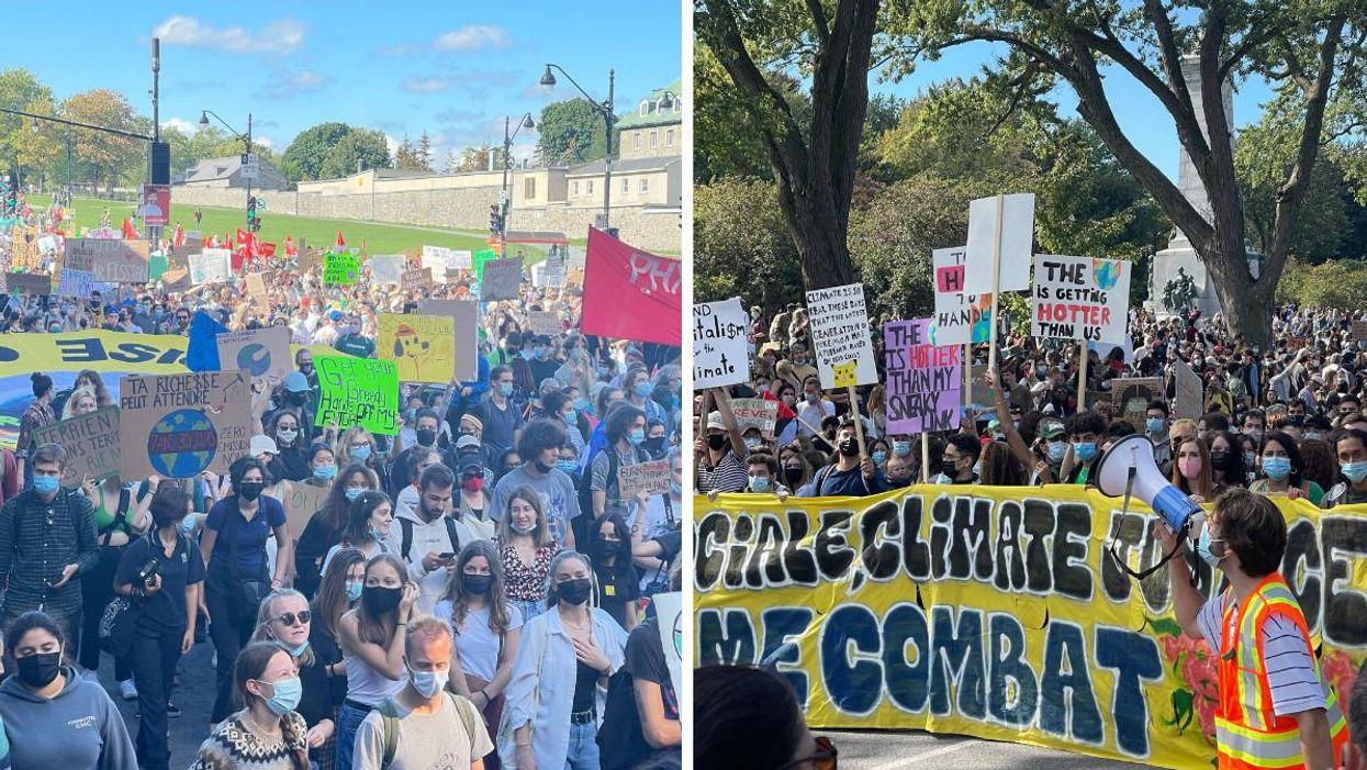 9 photos de l'impressionnante foule à la marche pour le climat ce vendredi à Montréal