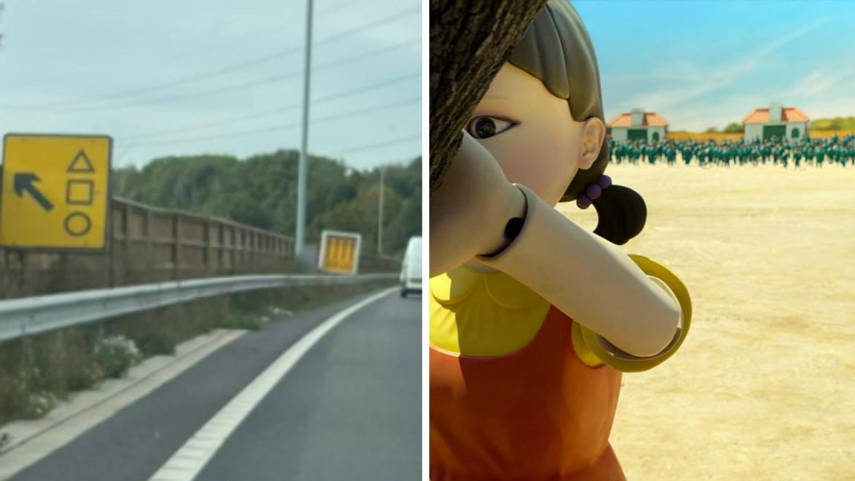 A Creepy 'Squid Game' Road Sign Is Confusing UK Drivers & Police Had To Step In