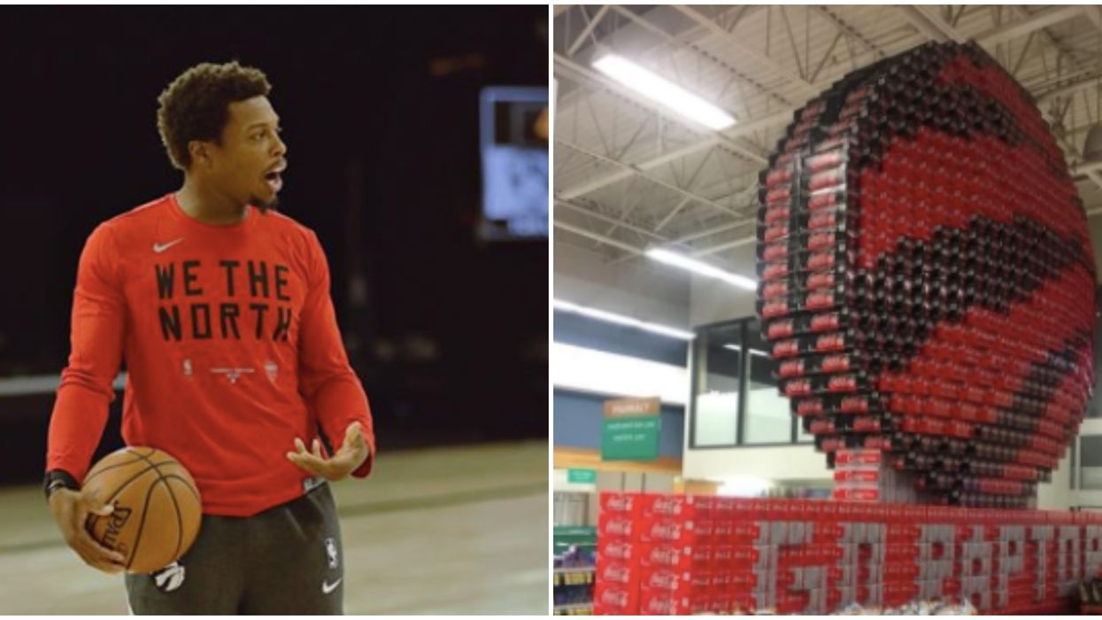 A Toronto Raptors Display Made Entirely Out Of Coca-Cola Was Set Up In A BC Store