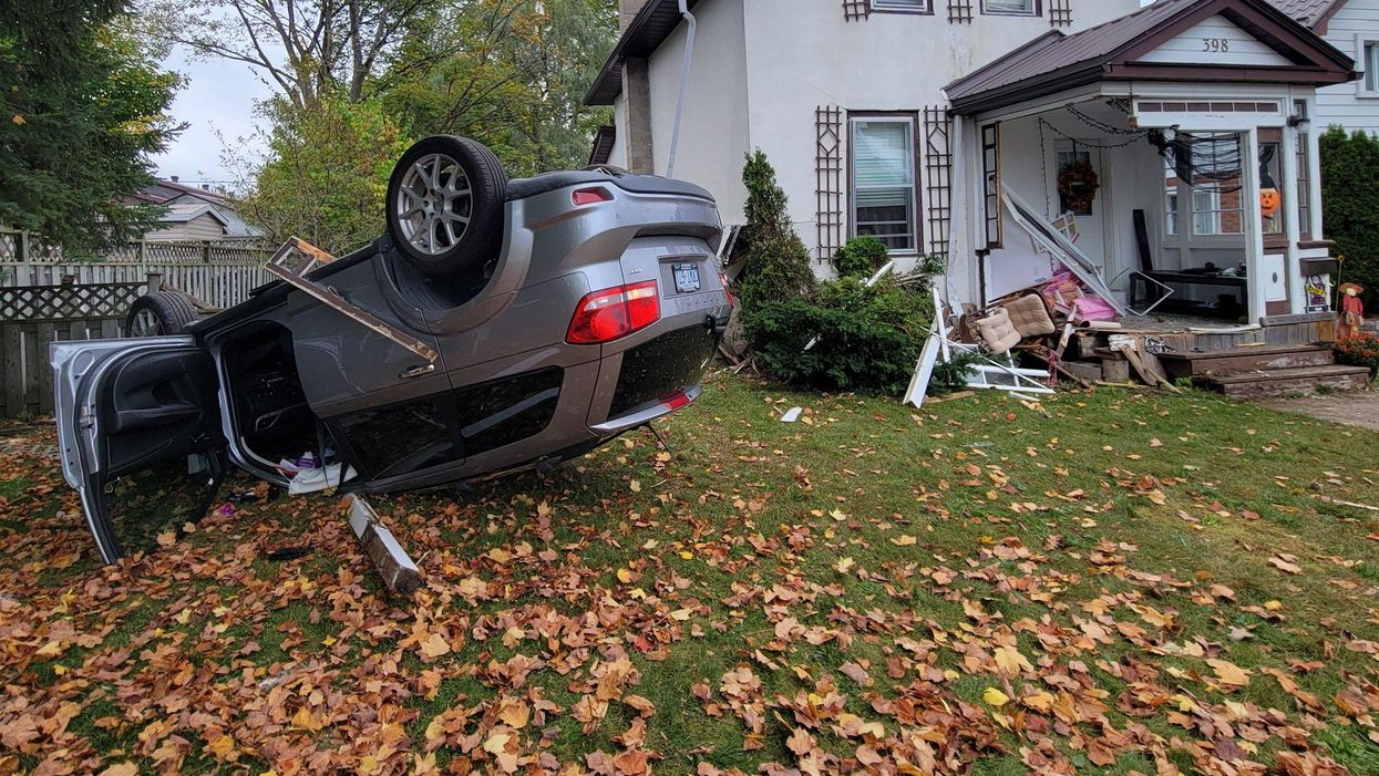 An SUV Crashed Into An Ontario Home & Flipped Onto Its Roof In A Chaotic Accident