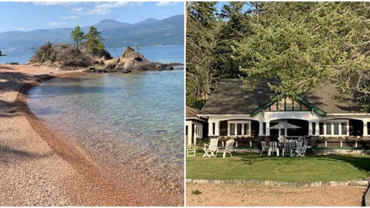 B.C.'s Okanagan Lake Estate For Sale Has Pink Sand Beaches & Crystal Clear Water