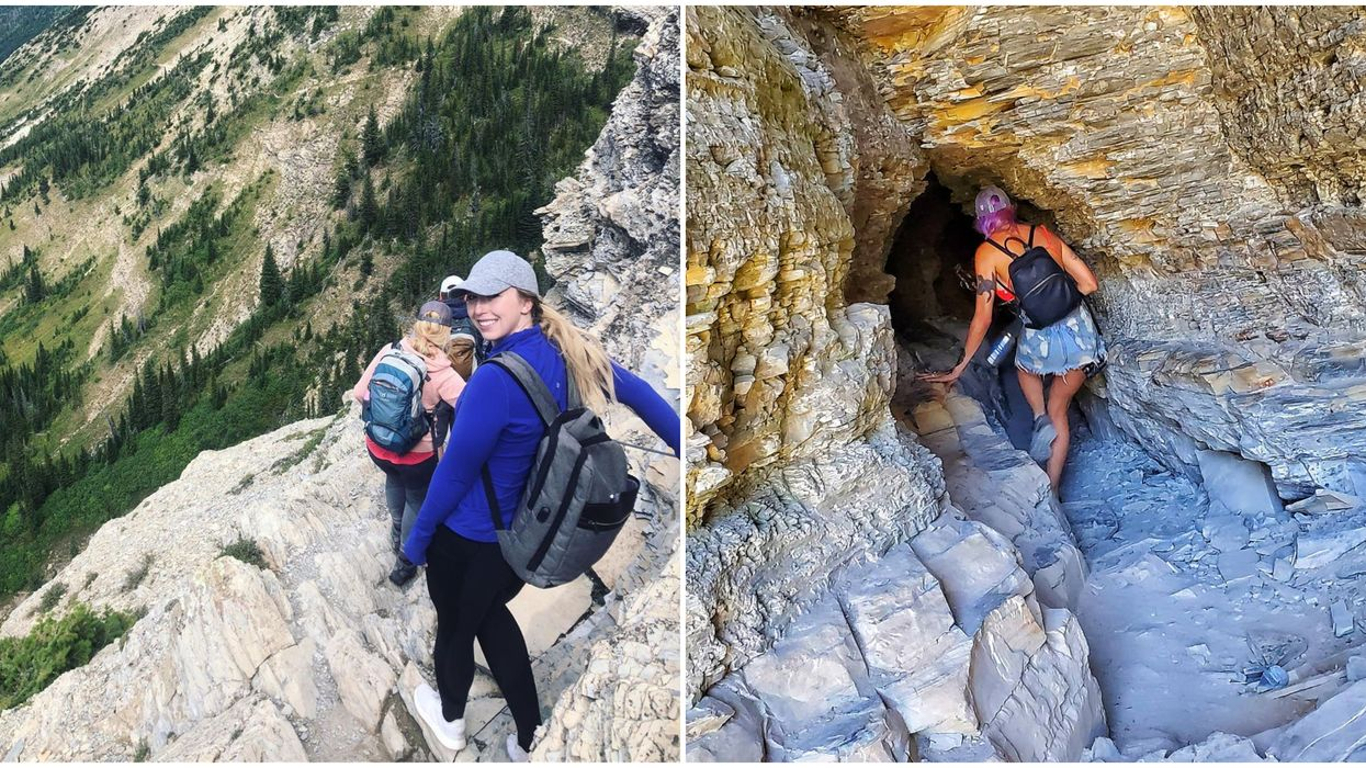 Cave Hike In Waterton Winds Up Ladders & Through Tunnels Carved Into The Cliffs