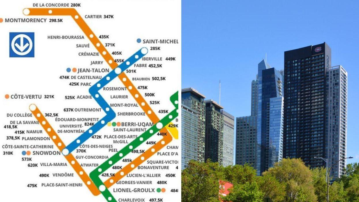 Cette carte montre le prix médian des condos en 2021 selon la station de métro à Montréal