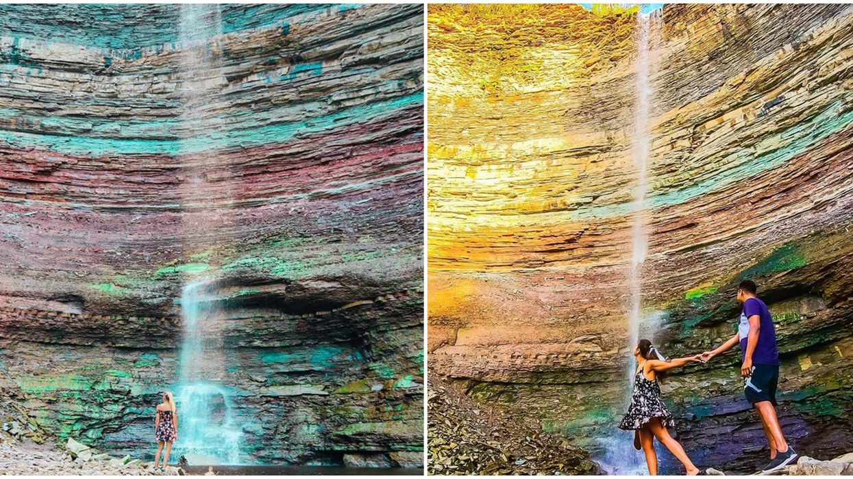 Devil's Punchbowl Waterfall Near Toronto Has Magical Rainbow Cliffs