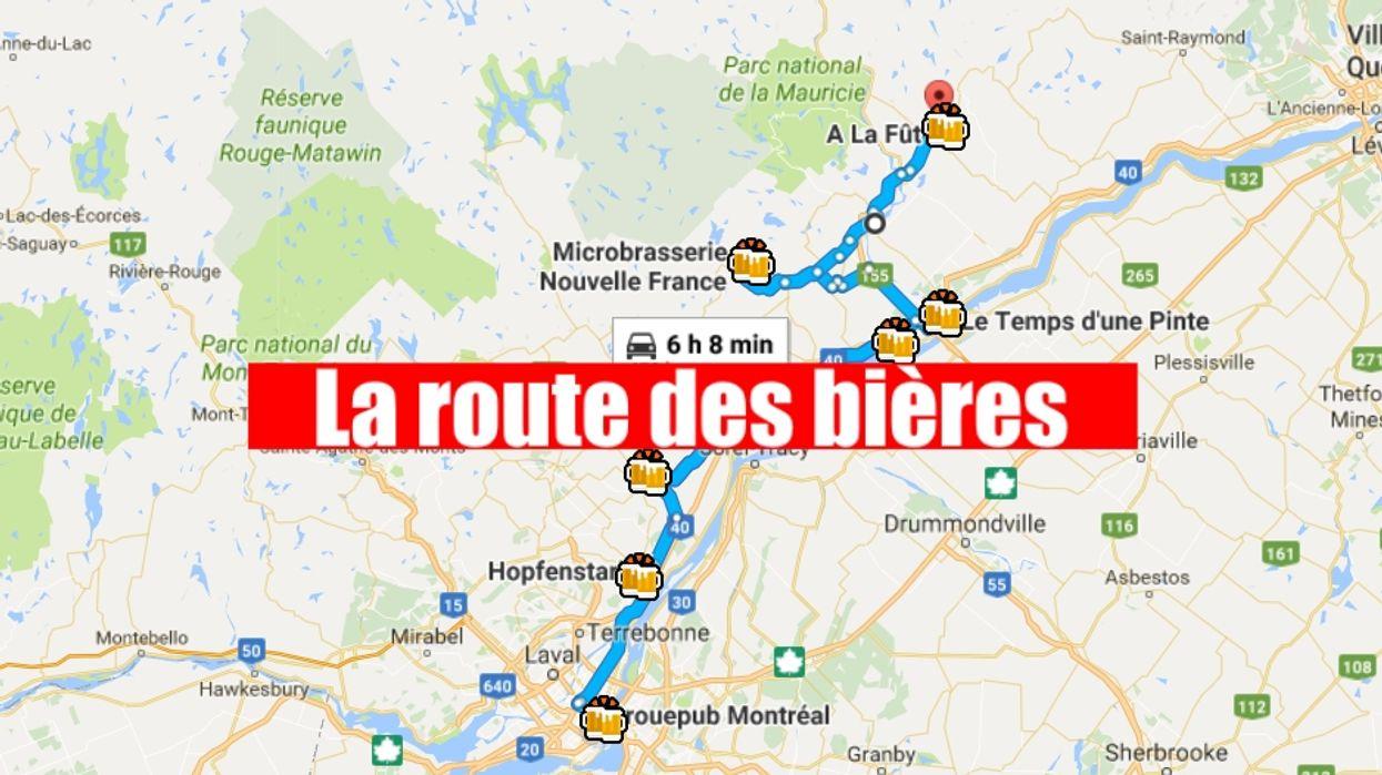 Cette carte te montre le road trip vers les meilleures bières aux alentours de Montréal
