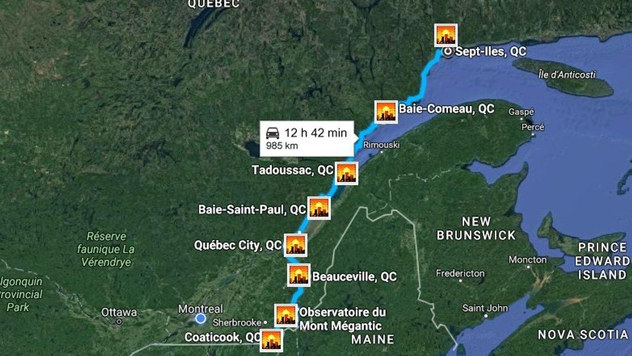 Cette carte te montre l'ultime roadtrip à faire à travers tout le Québec en 2017