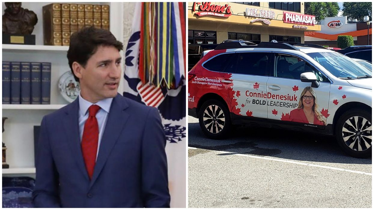 A Liberal Candidate Had Trudeau's Face Removed From Her Campaign Car