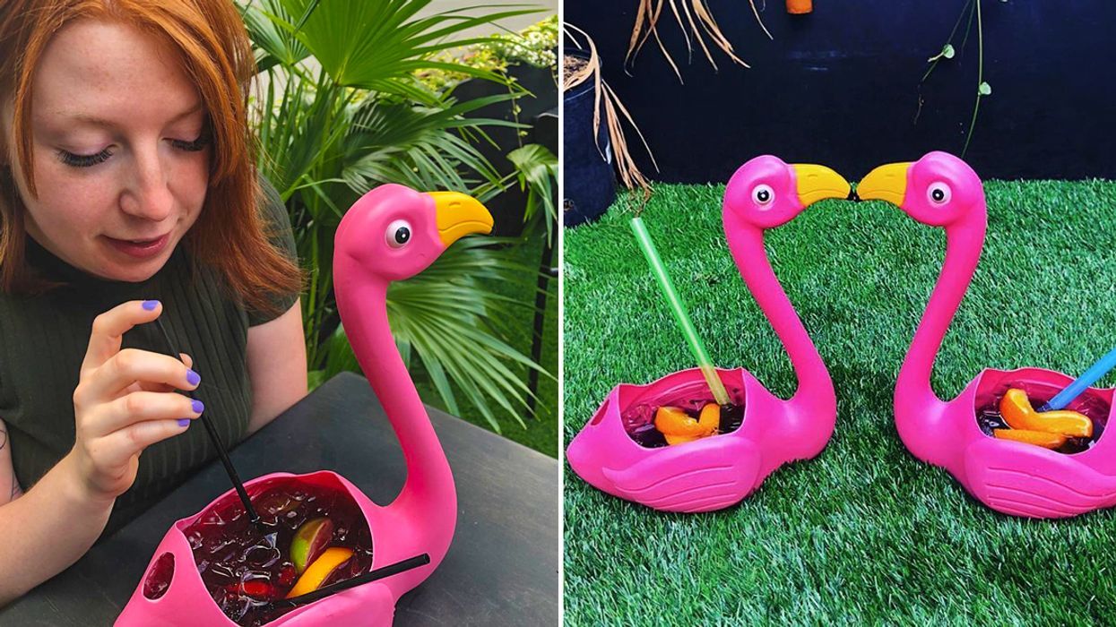 Say Goodbye To Summer In Montreal With 1.5 L Of Sangria In A Pink Flamingo
