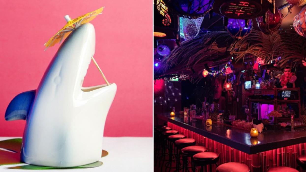 Tu peux boire un fou cocktail dans un verre en forme de requin à Montréal pour un temps très limité
