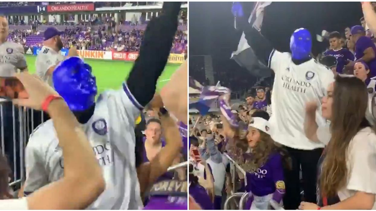 The Blue Man Group Was Spotted Getting Wild AF Last Night At Orlando City's Game