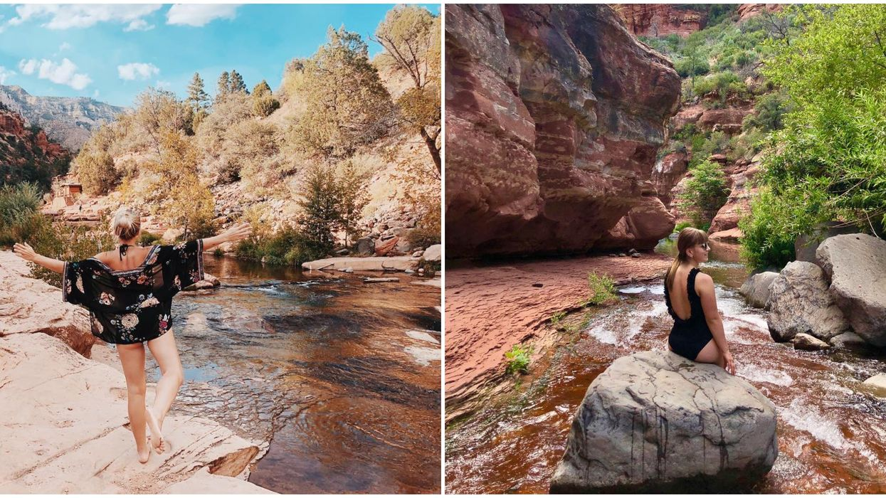There Is A Natural Rock Water Slide At This Swimming Hole In Arizona