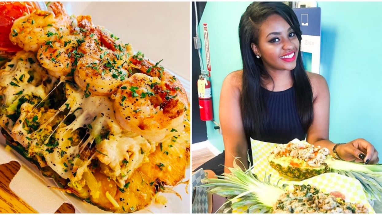 This Atlanta Caribbean Bistro Serves Massive Cheesy Rice Bowls In Pineapples For Only $8