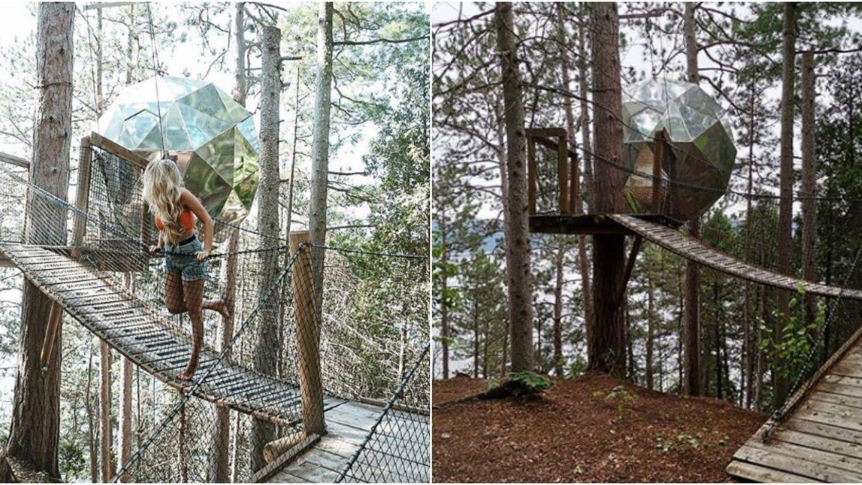 Tu peux dormir dans une sphère suspendue dans les arbres à 2h30 de Québec