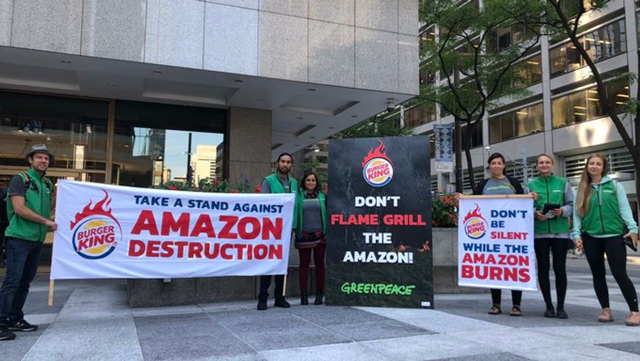 Toronto Greenpeace Protest Sees Activists Lobby Outside Of Burger King's Headquarters