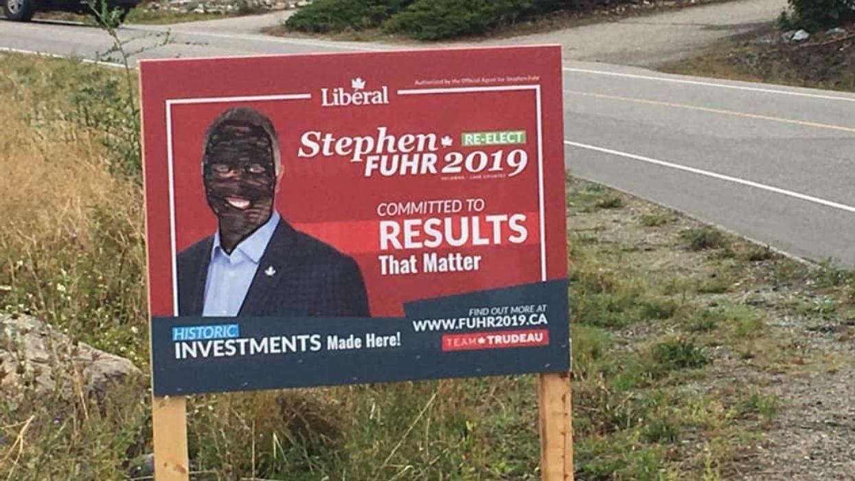 Stephen Fuhr Blackface Signs Vandalized In Kelowna