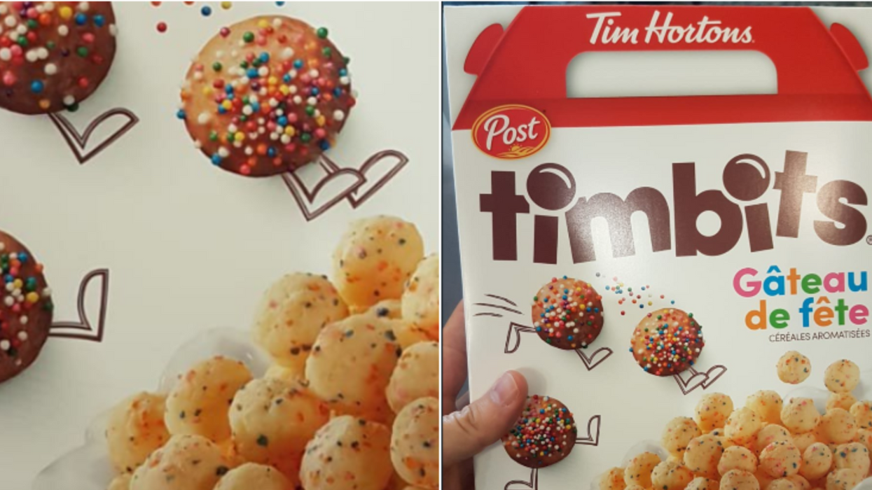 Tim Horton's Timbits Cereal Boxes Are Popping Up & Here's Everything We Know