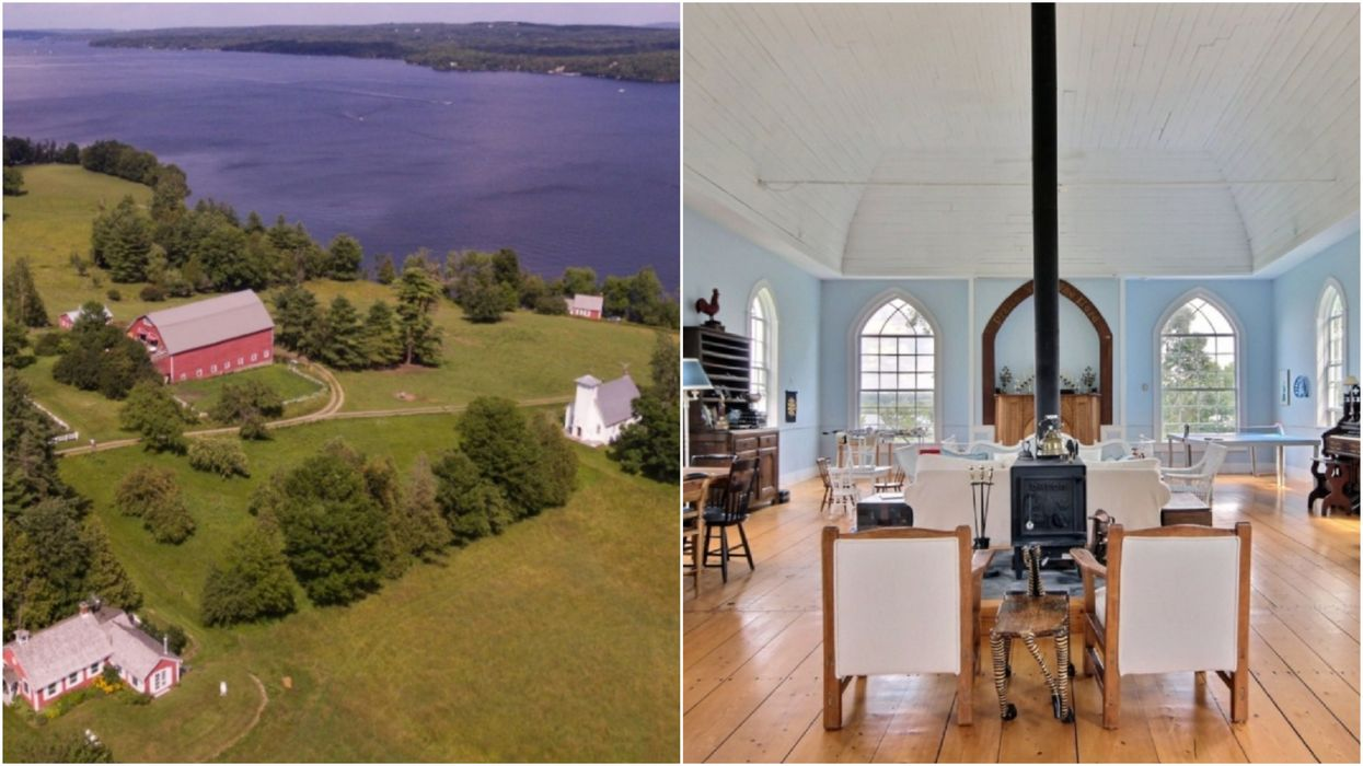 A Tiny Waterfront Village In Quebec Is For Sale & It Even Has An Old School House