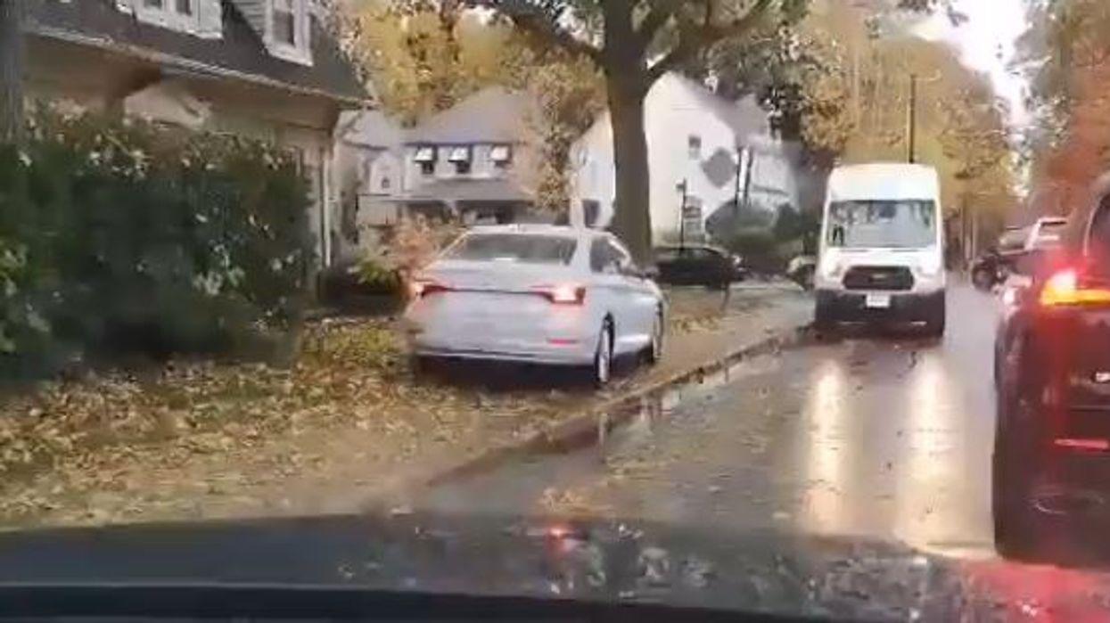 Toronto Driving Video Shows Reckless Motorist Mount Sidewalk To Overtake Line