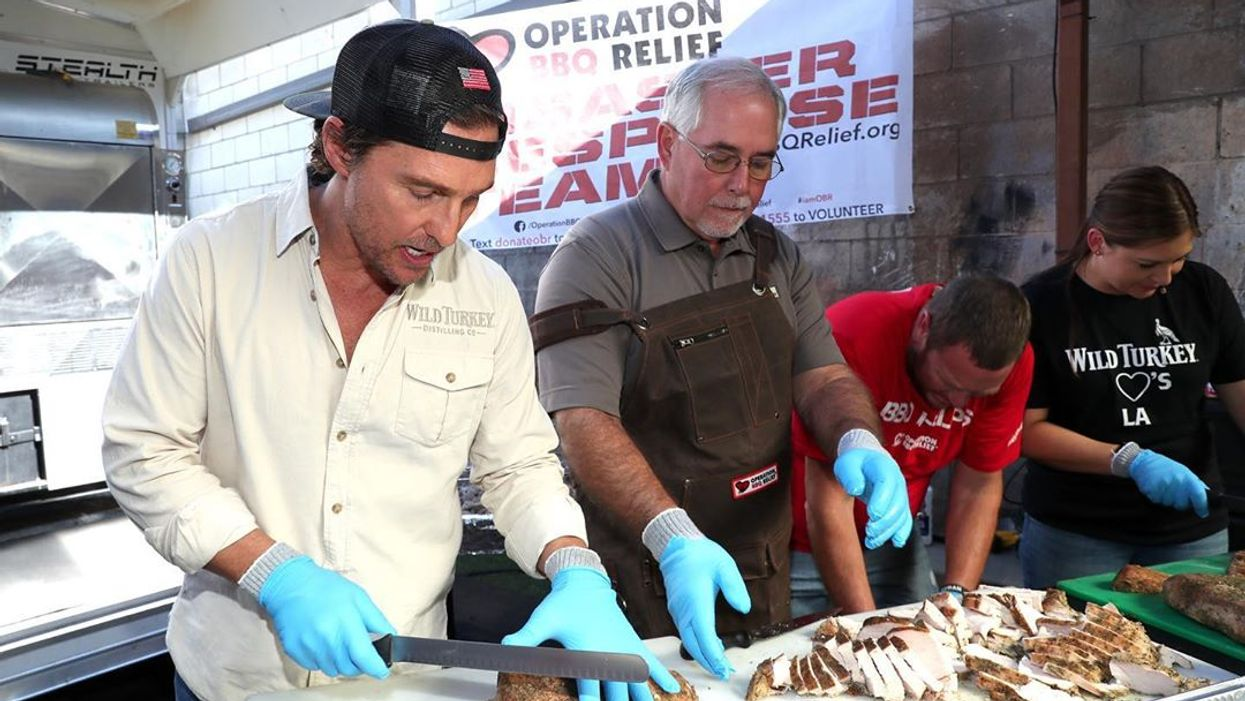Matthew McConaughey Cooked & Served 800 Dinners To Wildfire First Responders In California