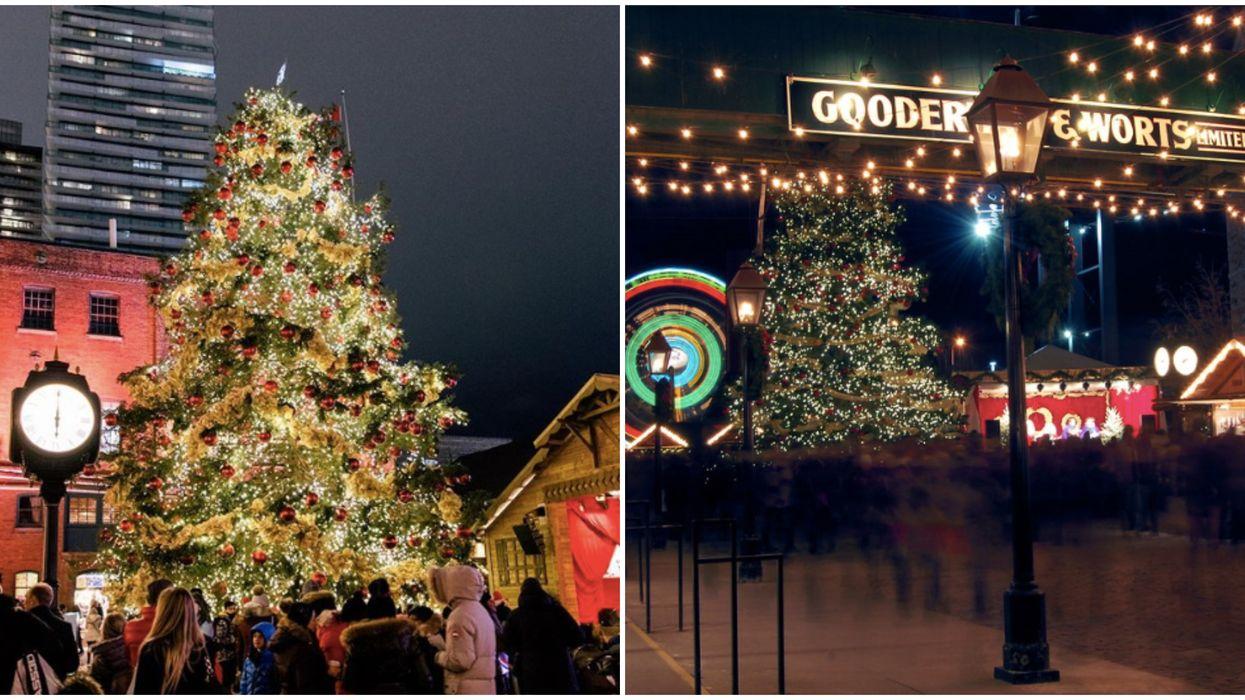 The Toronto Christmas Market's 50 Foot Christmas Tree Is Here & It Has 1 km Of Ribbon