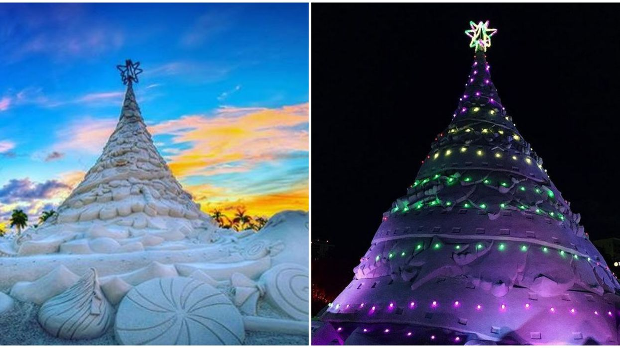 There's A 700-Ton Illuminated Sand Christmas Tree In Florida & It's So Floridian