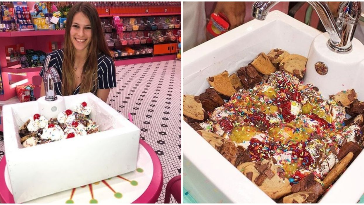 Sloan's Ice Cream In Miami Has An Ice Cream Sundae Served In A Sink