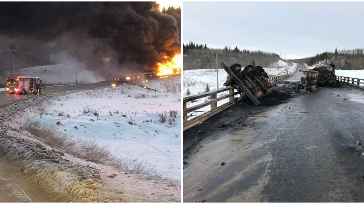 A Tanker Truck Crash In British Columbia Caused An Oil Spill & A Massive Fire