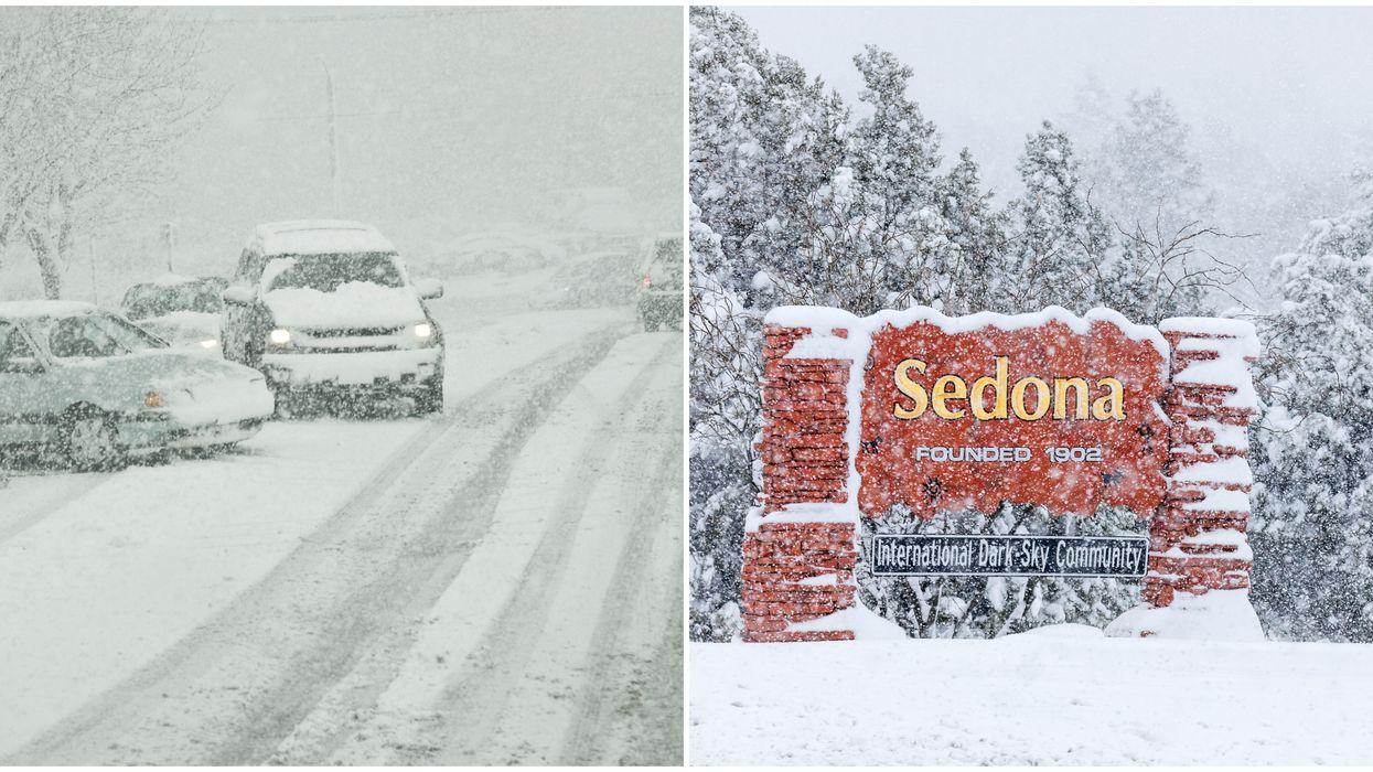 Snow In Sedona Arizona Today Comes With Massive Winter Storm