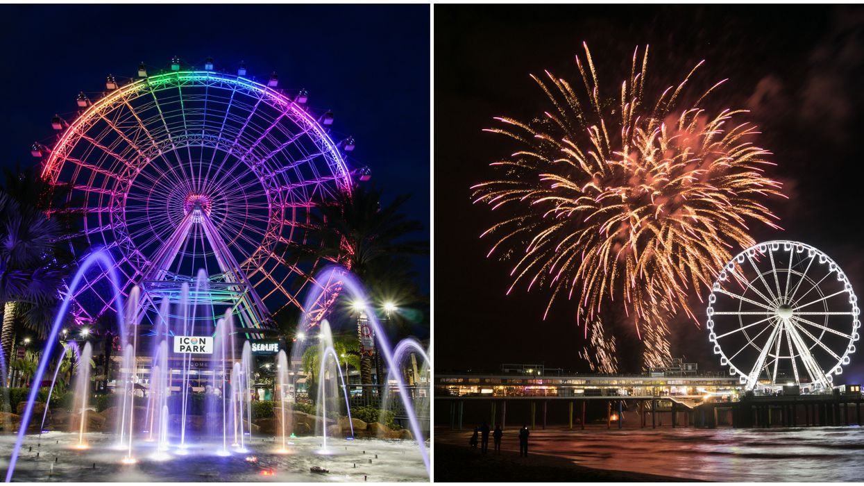 New Year's Eve In Florida Is Lit At Orlando's Icon Park With Fireworks Show At 400 Feet