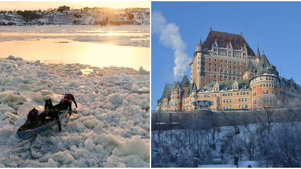 Cette randonnée en canot à glace offre une vue incroyable sur le Vieux-Québec