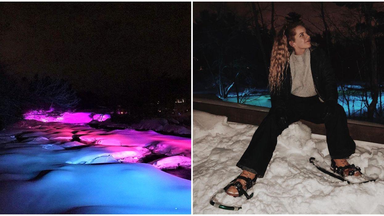 Tu peux faire une randonnée nocturne inoubliable sur ce sentier illuminé près de Montréal