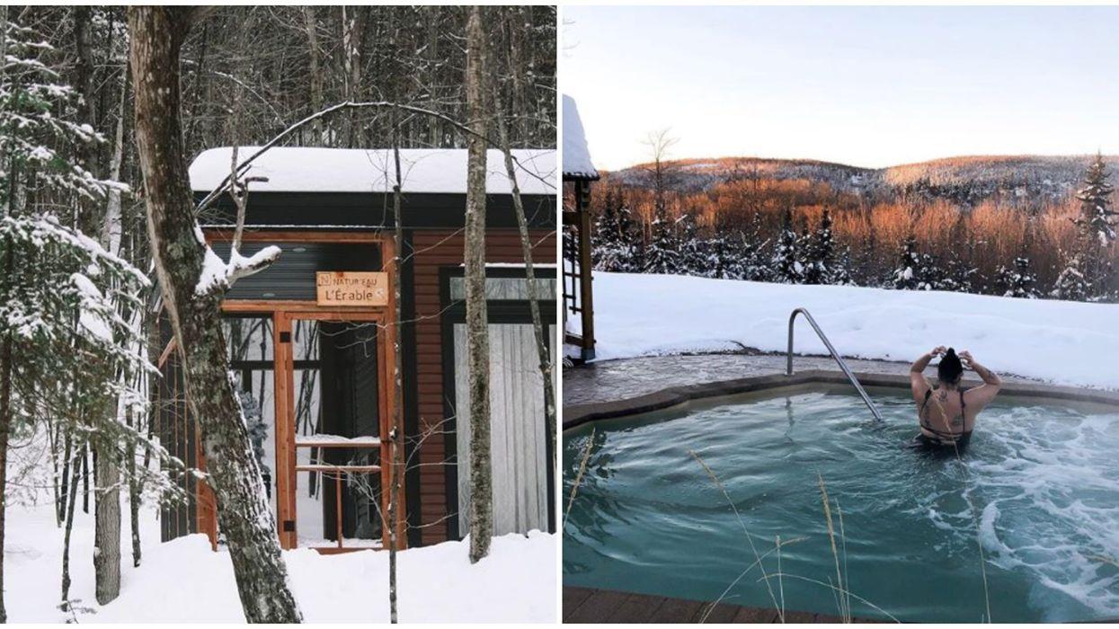 Tu peux louer une mini-maison en forêt avec expérience thermale à 1h45 de Montréal