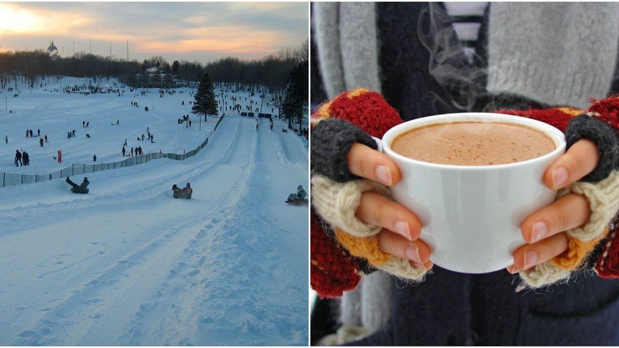 Tu peux faire de la glissade au clair de lune et boire du chocolat chaud à Montréal