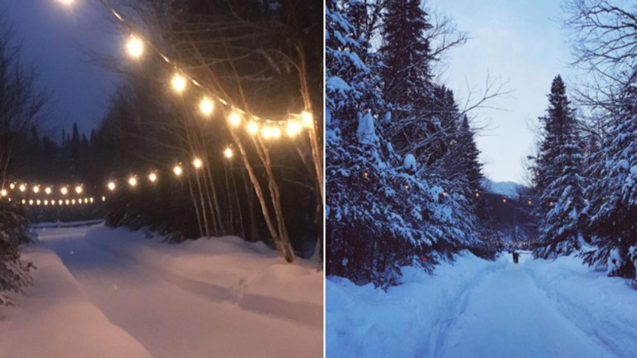 Soirée brillante: Une randonnée illuminée aux flambeaux a lieu près de Québec