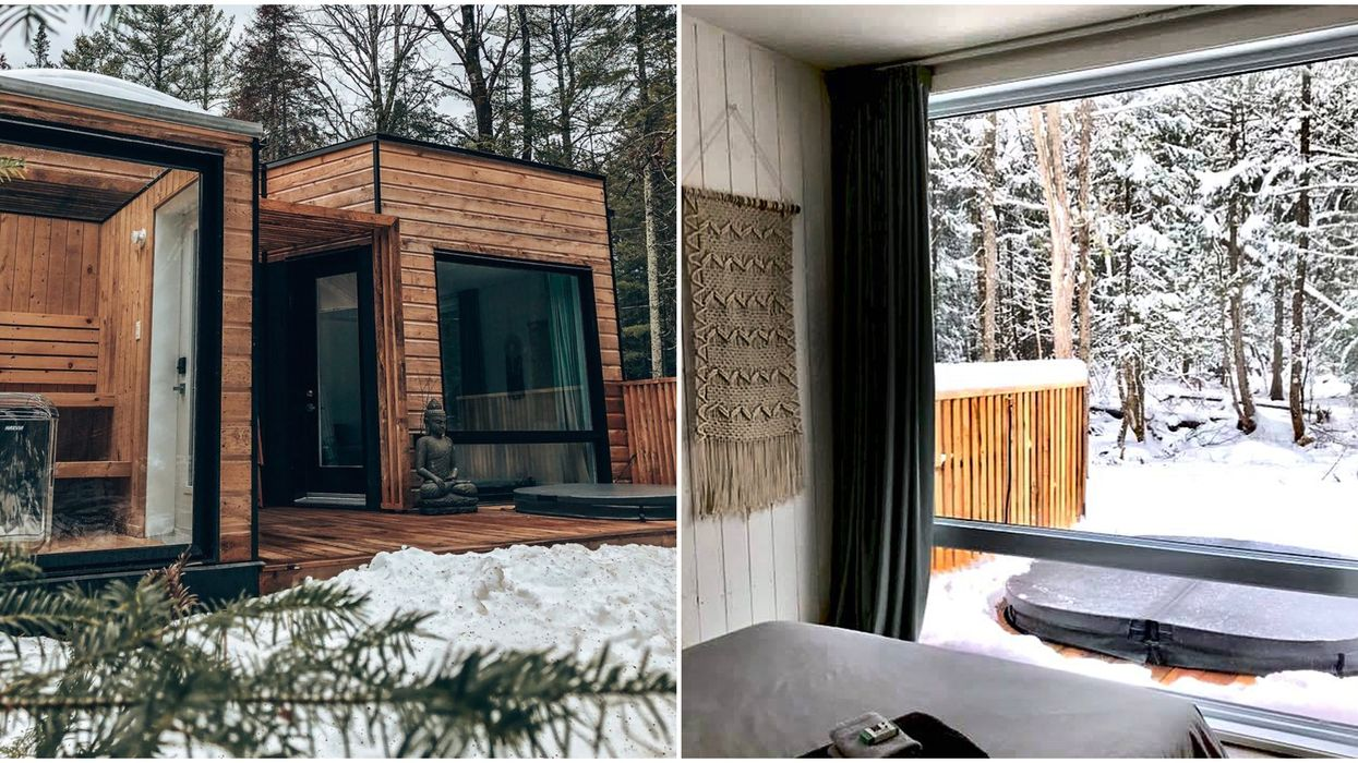 Cette adorable loge avec spa privé située à 1h30 de Montréal te fera adorer l'hiver