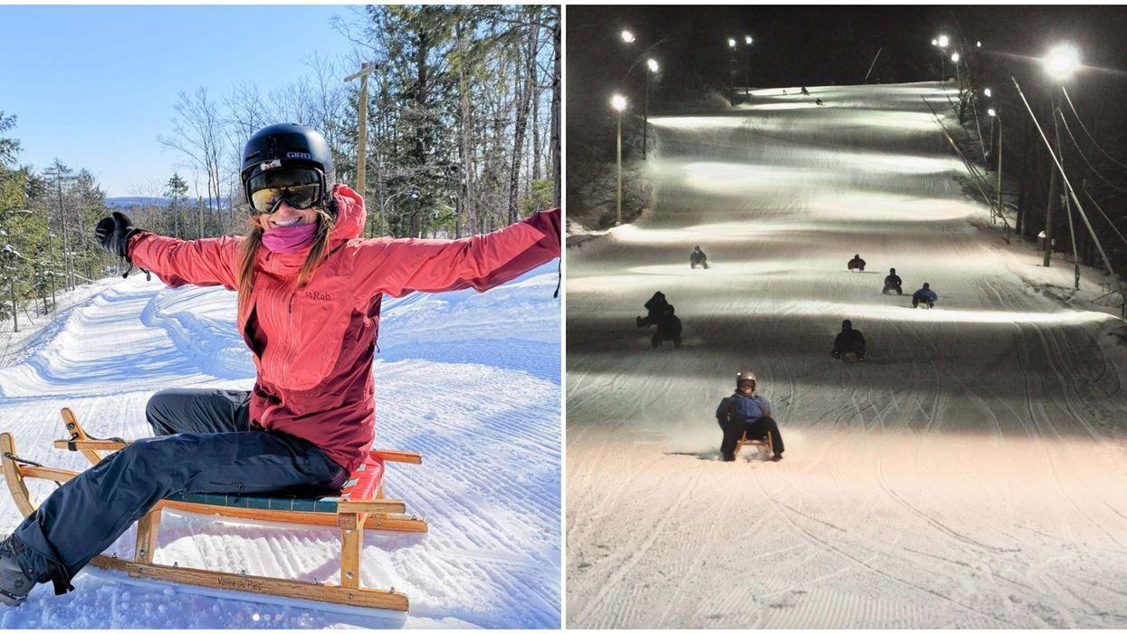 Tu peux faire de la luge alpine et nocturne à 2h00 de Montréal cet hiver