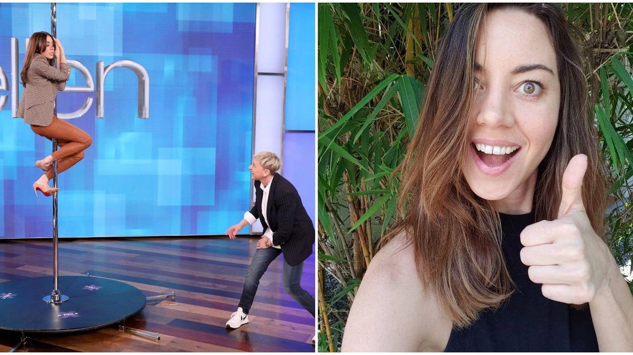 Ellen Degeneres Helped Aubrey Plaza Dance Like Jennifer Lopez & It Was Adorably Awkward