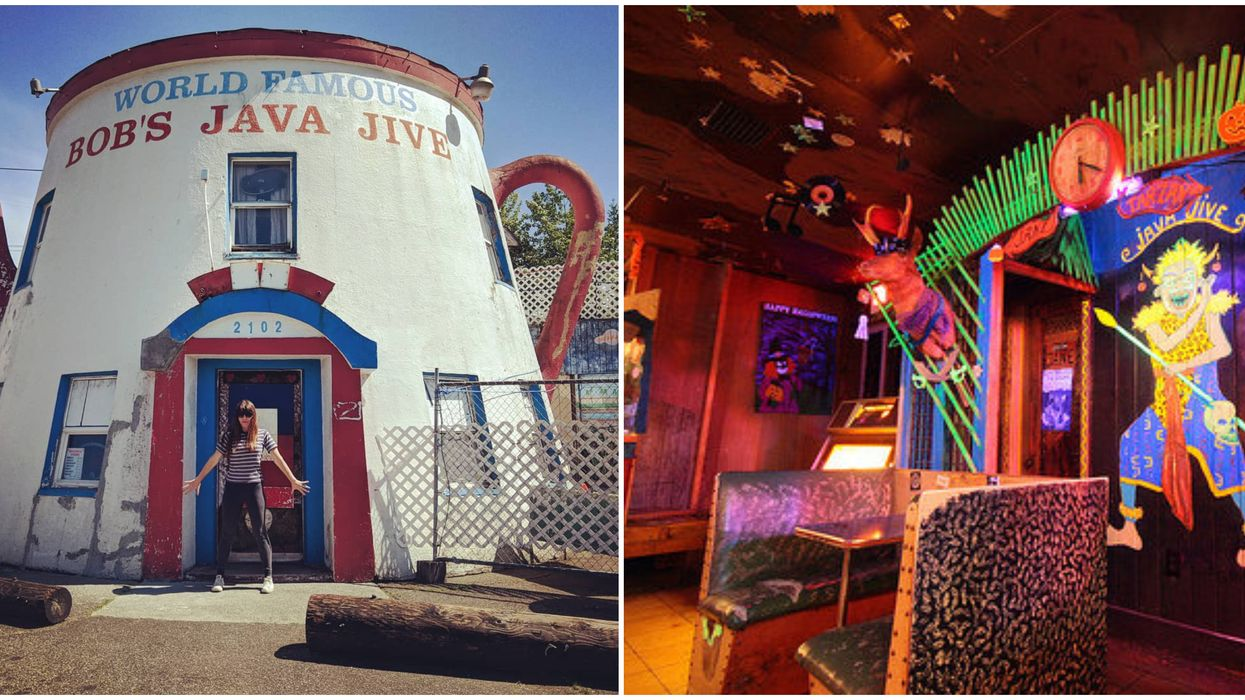 Bob's Java Jive Is A Roadside Attraction In Washington That's A Bar In A Coffee Pot