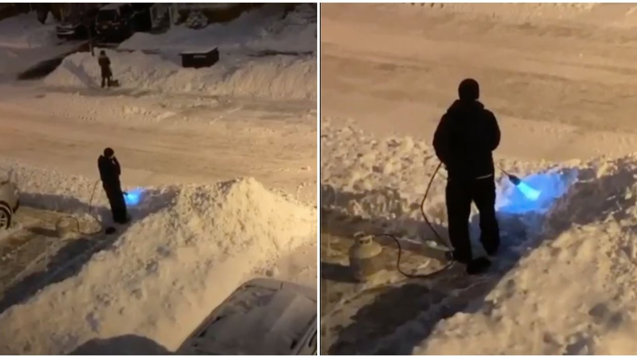 Toronto Snow Video Shows GTA Man Attempting To Thaw Driveway With Flamethrower