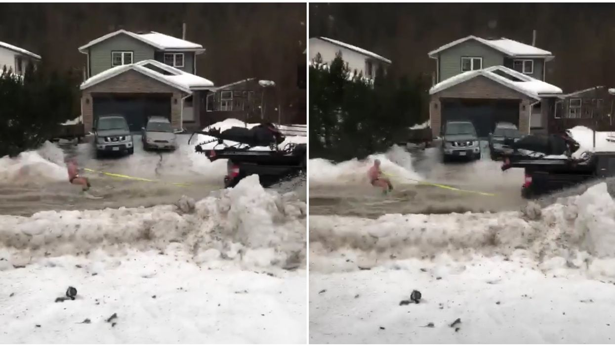 B.C. Man Water Skied Through The Streets In A Speedo After A Massive Snowmelt (VIDEO)