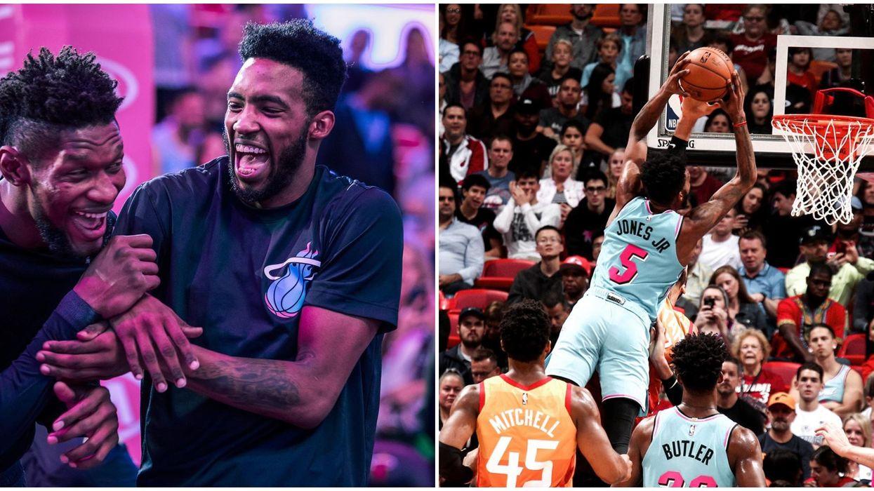 The Miami Heat's Derrick Jones Jr. Pulls Off Insane Slam-Dunk In New Warm-Up Tradition