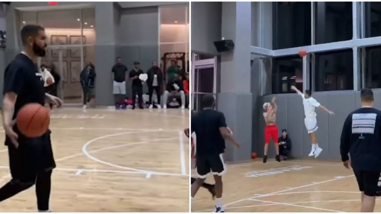 Drake & Justin Bieber Shot Hoops With Quavo In NYC On Thursday