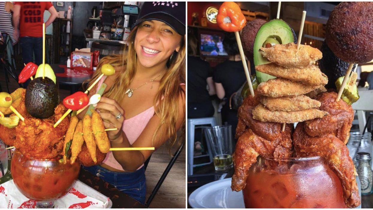 Brunch In Nashville Is Insane With This Huge Blood Mary Topped With 2 Whole Fried Chickens