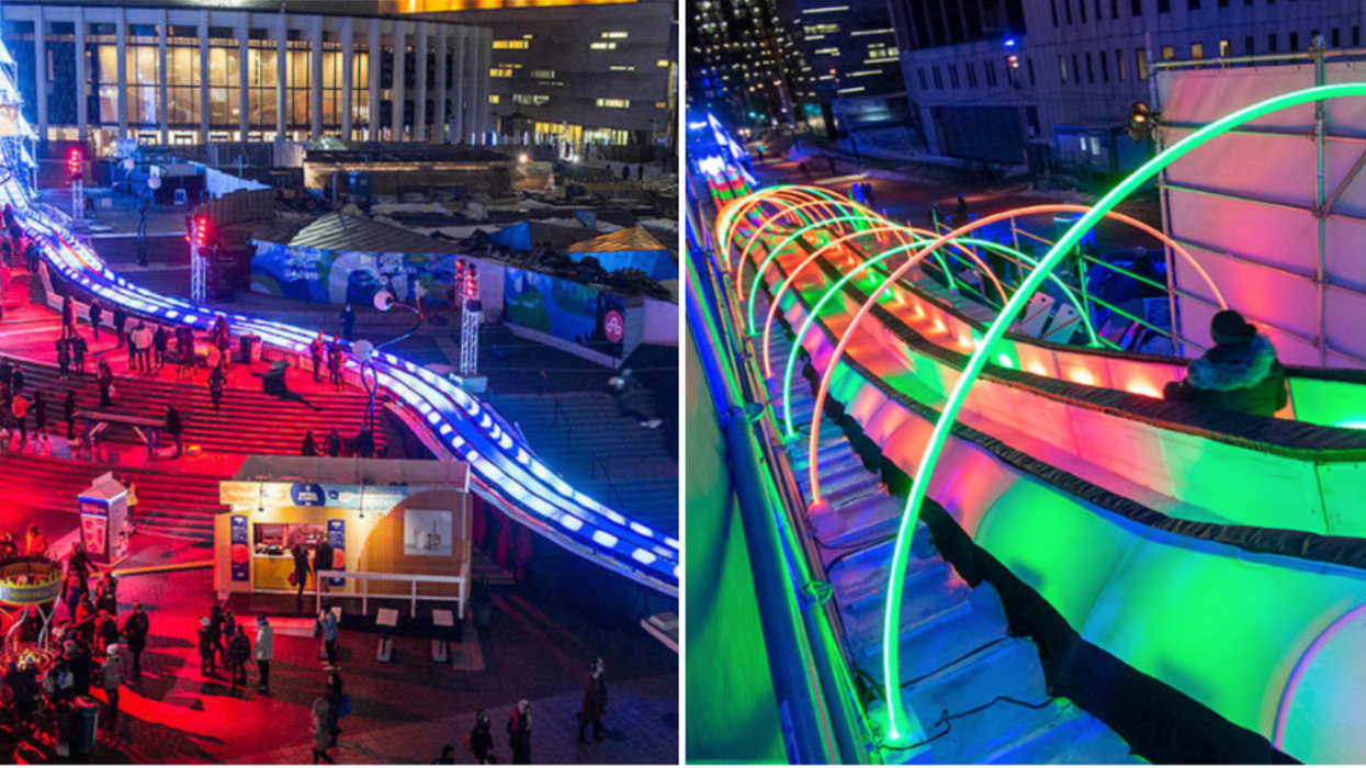 At Montreal En Lumiére You Can Hop On An Illuminated 110-Meter Slide For Free