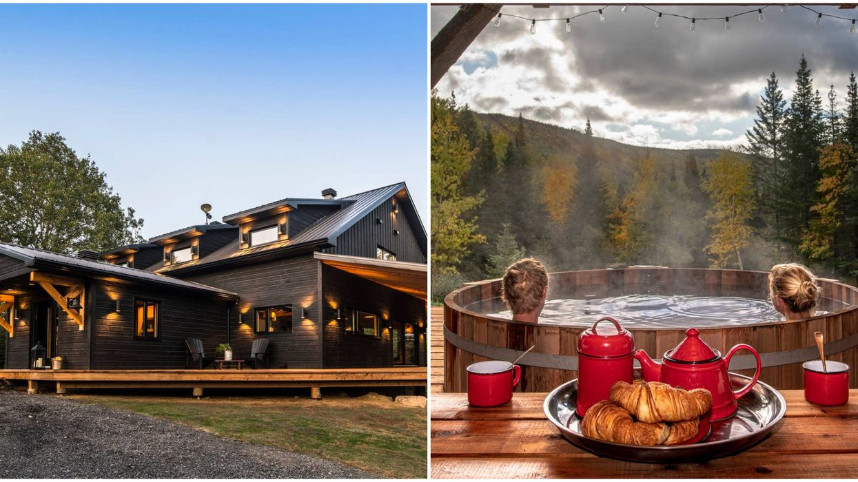 This Gorgeous Quebec Chalet On Airbnb Has An Outdoor Hot Tub & Views For Days