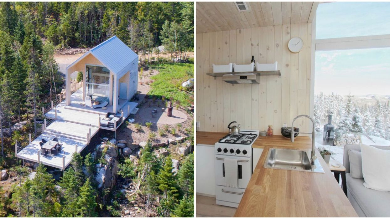 Tiny House Airbnb In Quebec Has An Outdoor Patio That's Almost Bigger Than The House Itself