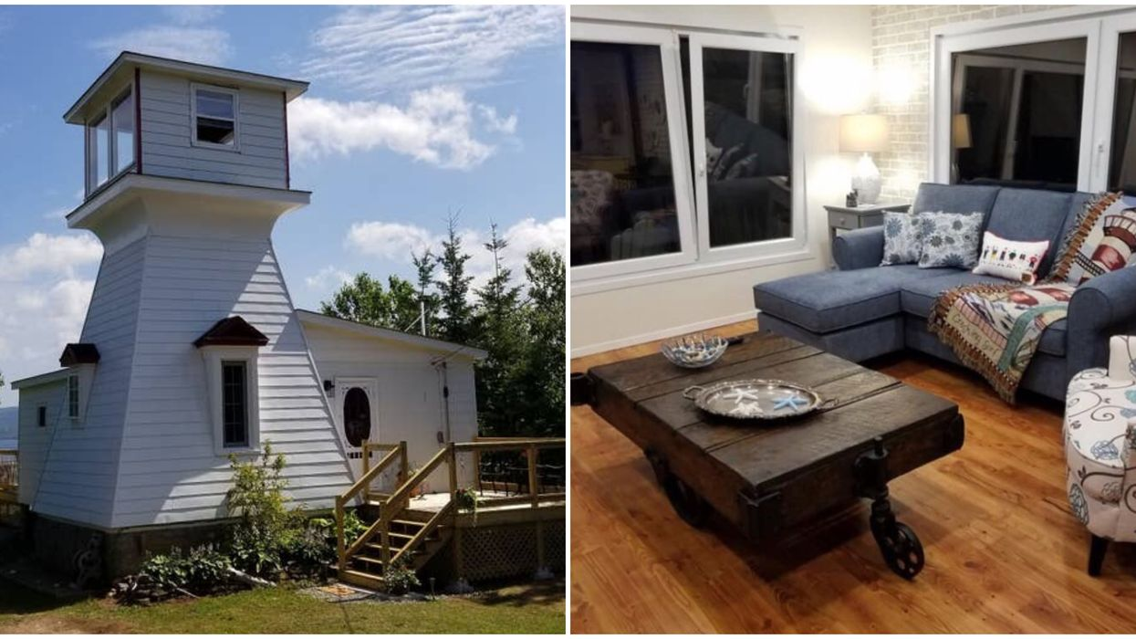 Lighthouse Airbnb Nova Scotia Has A Canada Themed Room & It's So Cozy