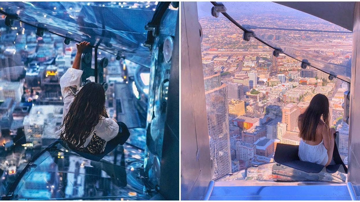 Glass Slide In Los Angeles Is 1,000 Feet High Above The Ground