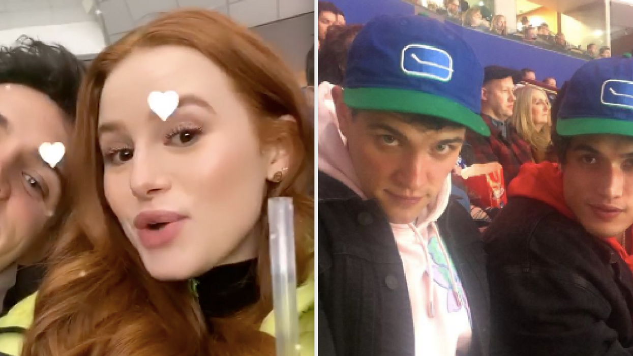 It's hockey night in Riverdale! TheRiverdalecast at a Vancouver Canucks game was the exact sprinkle of Canadian pride we needed today. It was even Madelaine Petsch and Charles Melton's first hockey game experience.
