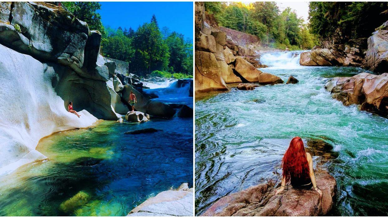 This Washington Waterfall Has Secret Emerald Pools & Trippy Rock Formations